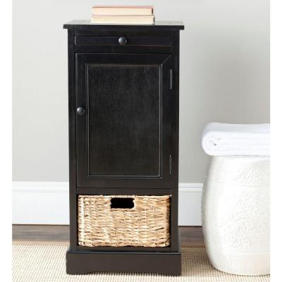 Raven Distressed Black Storage End Table