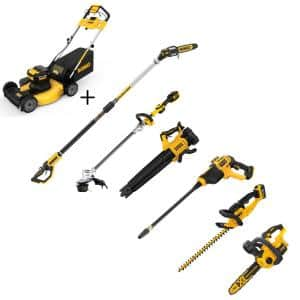 21.5 in. 20-V Li-Ion Cordless Battery Walk Behind Self Propelled Mower w/Hedge,Bare Trimmer,Blower,Cleaner,Pole/Hand Saw