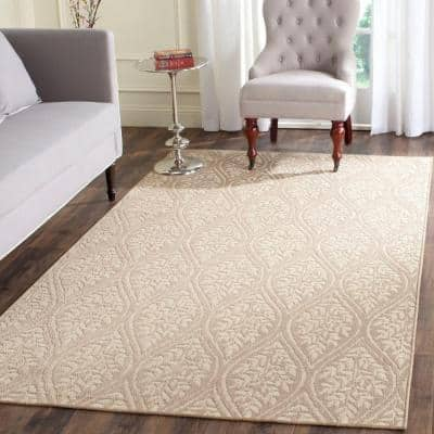 Palm Beach Sand/Natural 5 ft. x 8 ft. Floral Area Rug