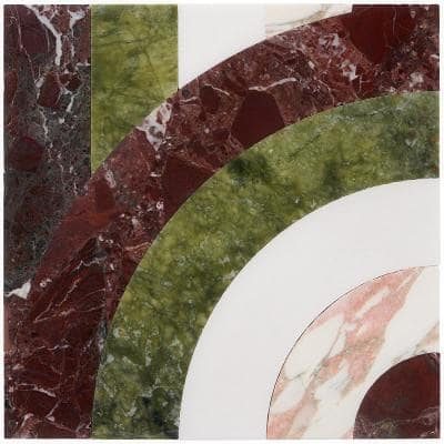 Elizabeth Sutton Bow Vertical Rainbow 12 in. x 12 in. Polished Marble Floor and Wall Mosaic Tile (1 sq. ft. /Each)