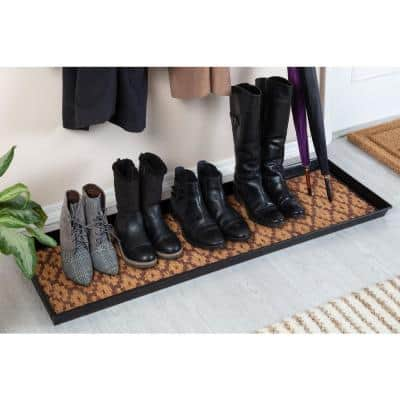 46.5 in. x 14 in. x 1.5 in. Black Metal Boot Tray with Tan & Dark Brown Coir Insert