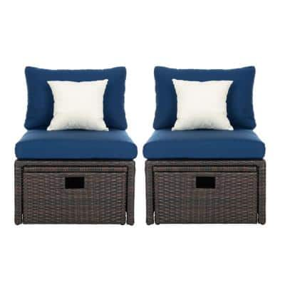 Telford Brown 4-Piece Wicker Outdoor Lounge Chair with Navy Cushions