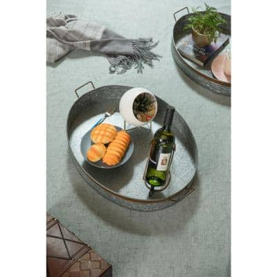 Galvanized Metal Oval in Large with Handles Rustic Serving Tray