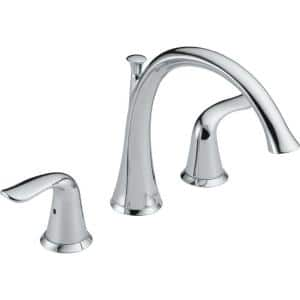 Lahara 2-Handle Deck-Mount Roman Tub Faucet Trim Kit Only in Chrome (Valve Not Included)
