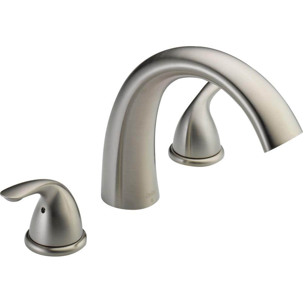 delta classic 2 handle deck mount roman tub faucet trim kit only in stainless valve not included t2705 ss the home depot
