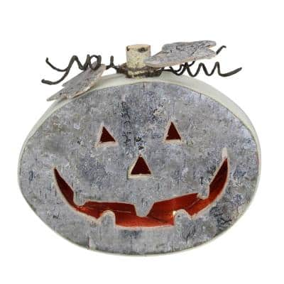 8.5 in. Halloween Gray LED Battery Operated Jack-O-Lantern Table Top Decoration