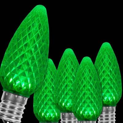 OptiCore C9 LED Green Faceted Christmas Light Bulbs (25-Pack)