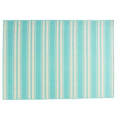 Ifran Teal and Ivory 5 ft. x 7 ft. Striped Outdoor Area Rug