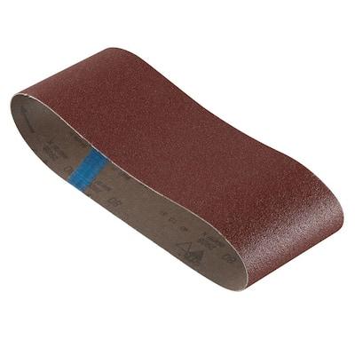 4 in. x 24 in. 80-Grit Red Sanding Belt (3-Pack)