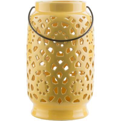 Kimba 11 in. Mustard Ceramic Lantern
