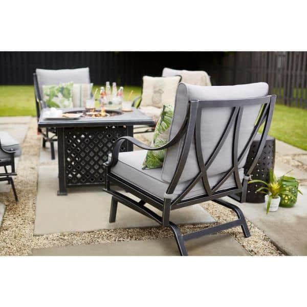 Hampton Bay Highland Point Black Pewter 5 Piece Aluminum Outdoor Patio Fire Pit Set With Cushionguard Gray Cushions Fg Tul5pcfcalwc The Home Depot