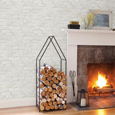 Arlington Off-White Brick Paper Pre-Pasted Wallpaper Roll (Covers 56.4 Sq. Ft.)