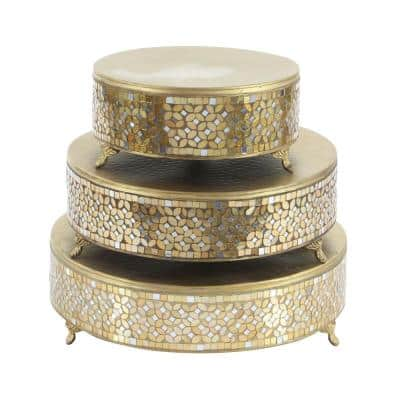 Gold Iron and Glass Mosaic Round Cake Stand (Set of 3)