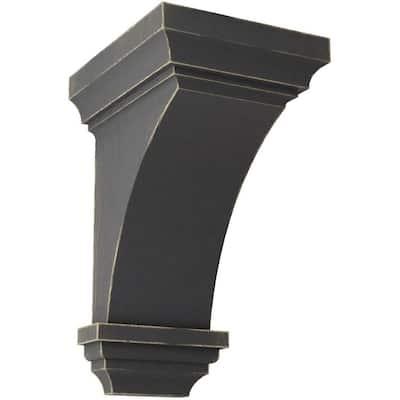 6 in. x 12 in. x 6-3/4 in. Black Large Jefferson Wood Vintage Decor Corbel