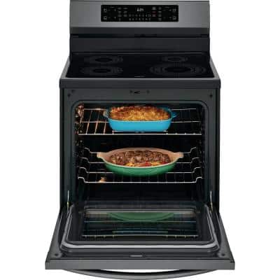 30 in. 5.4 cu. ft. Induction Electric Range with Self-Cleaning Oven in Smudge-Proof Black Stainless Steel with Air Fry