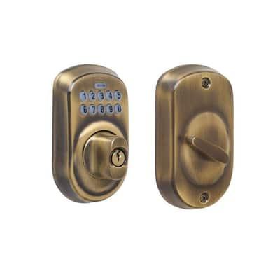 Plymouth Antique Brass Keypad Electronic Door Lock Deadbolt