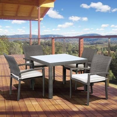 Liberty Grey 5-Piece Square Patio Dining Set with Off-White Cushion
