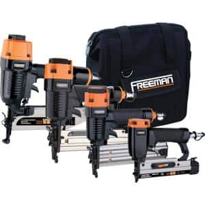 Pneumatic Finishing Nailer Combo Kit with Canvas Bag and Fasteners (4-Piece)