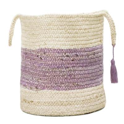 Bold Striped Off-White / Purple 19 in. Jute Decorative Storage Basket with Handles