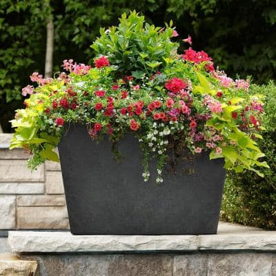 Sonata 20 in. H x 28 in W. Rectangle Slate Rubber Self-Watering Trough Planter