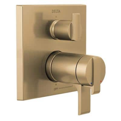 Ara 2-Handle Wall-Mount Valve Trim Kit with 3-Setting Integrated Diverter in Champagne Bronze (Valve not Included)