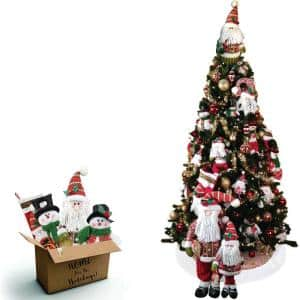7.5 ft. Canyon Pine Artificial Tree with Smart String Lights and Traditional Holiday Decoration Set (196-Piece)