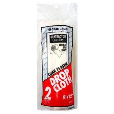 9 ft. x 12 ft. 2 mil Rolled Plastic Drop Cloth (18-Pack)