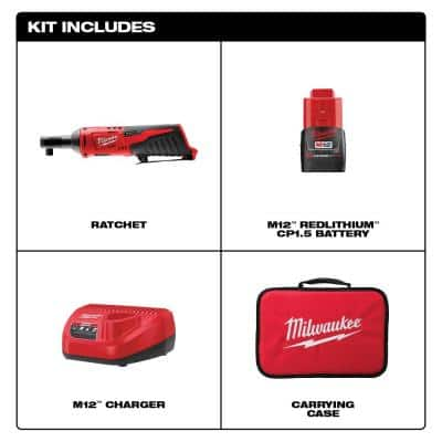 M12 12-Volt Lithium-Ion Cordless 3/8 in. Ratchet Kit with One 1.5 Ah Battery, Charger and Tool Bag