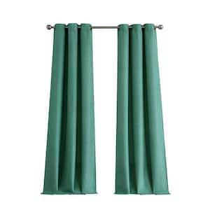 Teal Faux Silk Grommet Room Darkening Curtain - 76 in. W x 96 in. L  (Set of 2)