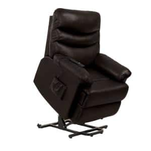 35 in. Width Big and Tall Coffee Brown Faux Leather Power Reclining Lift Recliner