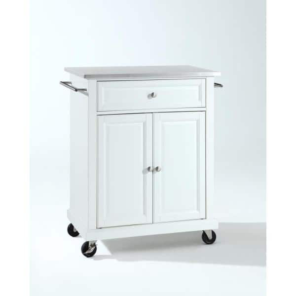 Crosley Rolling White Kitchen Cart With Stainless Top Kf30022ewh The Home Depot