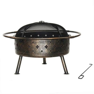 24 in. x 12 in. Round Steel Wood Fire Pit in Bronze and Black with Flame Retardant Lid and Poker