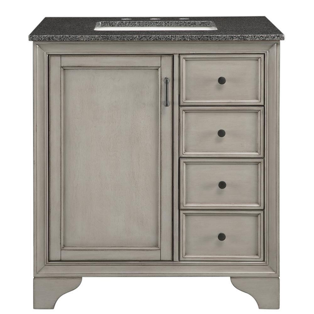 Home Decorators Collection Hazelton 31 In W X 22 In D Bath Vanity In Antique Grey With Granite Vanity Top In Dark Grey Hzagv3122 The Home Depot