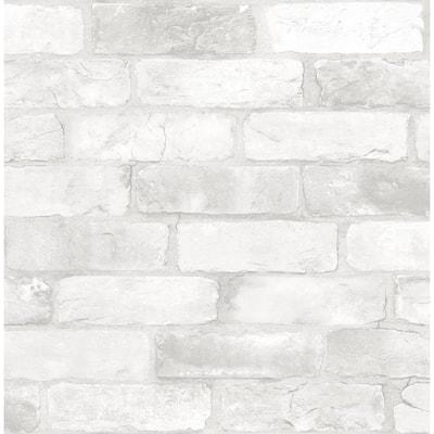 Rustin White Reclaimed Bricks White Wallpaper Sample
