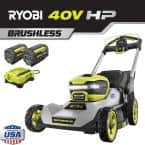 21 in. HP 40V Brushless Cordless Battery Walk Behind Self-Propelled Lawn Mower - (2) 6.0 Ah Batteries and (1) Charger