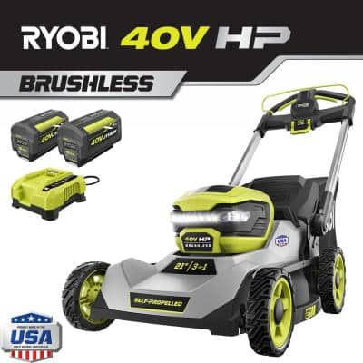 21 in. 40-Volt HP Lithium-Ion Brushless Cordless Walk Behind Self-Propelled Lawn Mower - Two 6.0 Ah Batteries & Charger