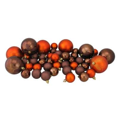 Chocolate Brown and Burnt Orange Shatterproof 4-Finish Christmas Ornaments (125-Count)
