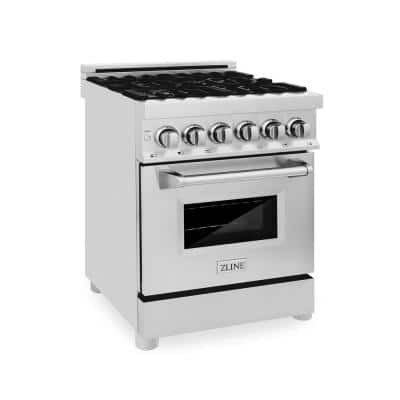 """ZLINE 24"""" 2.8 cu. ft. Dual Fuel Range with Gas Stove and Electric Oven in Stainless Steel (RA24)"""