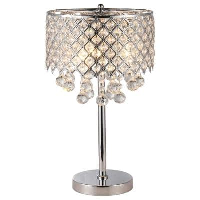 18.5 in. Chrome Table Lamp with Crystal Bead Drum Shade