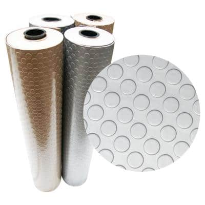 """""""Coin-Grip Metallic"""" 4 ft. x 25 ft. Silver Commercial PVC Flooring"""