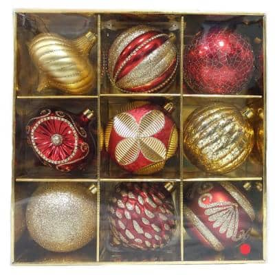 130 mm Red Ornaments Set (9-Count)