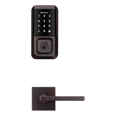 HALO Venetian Bronze Electronic Smart Lock Deadbolt feat SmartKey Security, Touchscreen and Wi-Fi w/ Halifax lever