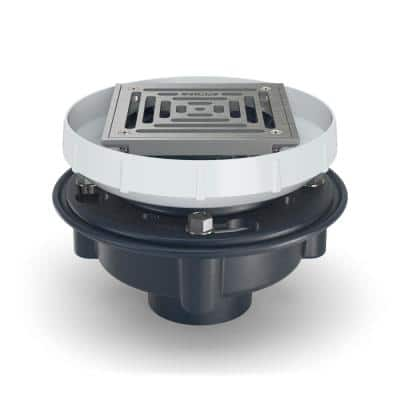 6 in. Square with Stainless Steel Strainer and PVC Body with 2 in. x 3 in. Solvent Weld Connection Floor Drain