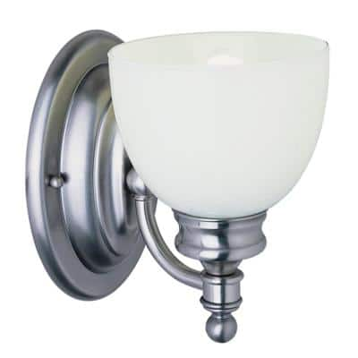 Kovacs 1-Light Antique Nickel wall Sconce with Frosted Glass Shade