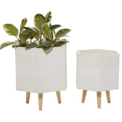 15 in. and 17 in. Planters with Stand and Pot For Indoor Plants Hexagon, White (Set of 2)