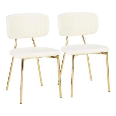 Bouton Gold and Cream Velvet Dining Chair (Set of 2)
