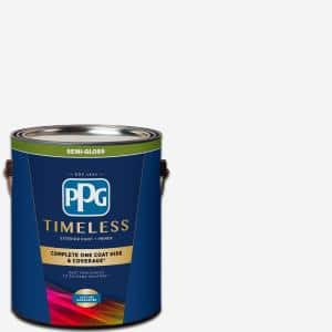 Ppg Timeless 1 Gal Pure White Base 1 Semi Gloss Exterior Paint With Primer Ppg73 510 01 The Home Depot