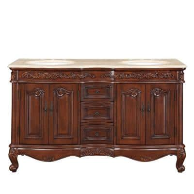 58 in. W x 22 in. D Vanity in English Chestnut with Travertine Stone Vanity Top with White Basin