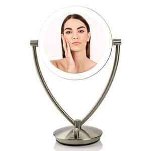 5.3 in. X 14 in. LED Lighted Tabletop Makeup Mirror with 1X 5X Magnification, Nickel Brushed