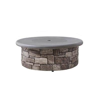 Solay 40 in. x 15 in. Round Artificial Stone Liquid Propane Gas Fire Pit in Grey